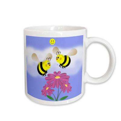777Images Designs Cartoons Bees in love Two Bumble Bees Staring Lovingly at a Flower 11 oz. White Ceramic Coffee Mug
