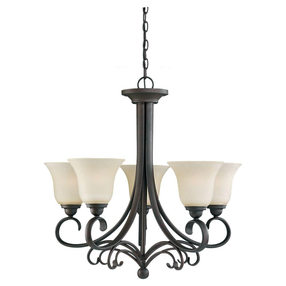 Sea Gull Lighting Del Prato 26.5 in. W 5-Light Chestnut Bronze Single Tier Chandelier with Cafe Tint Glass