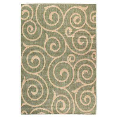 Whirl Natural/Sage 4 ft. x 5 ft. Area Rug