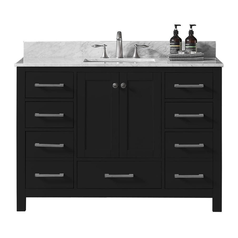 Colette 48 in w x 22 in d x 34 2 in h bath vanity in espresso w carrara marble vanity top in white w white basin