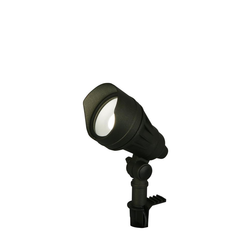 hampton bay 9.8-Watt Millennium Black Adjustable Light Color Outdoor Integrated LED Landscape Flood Light