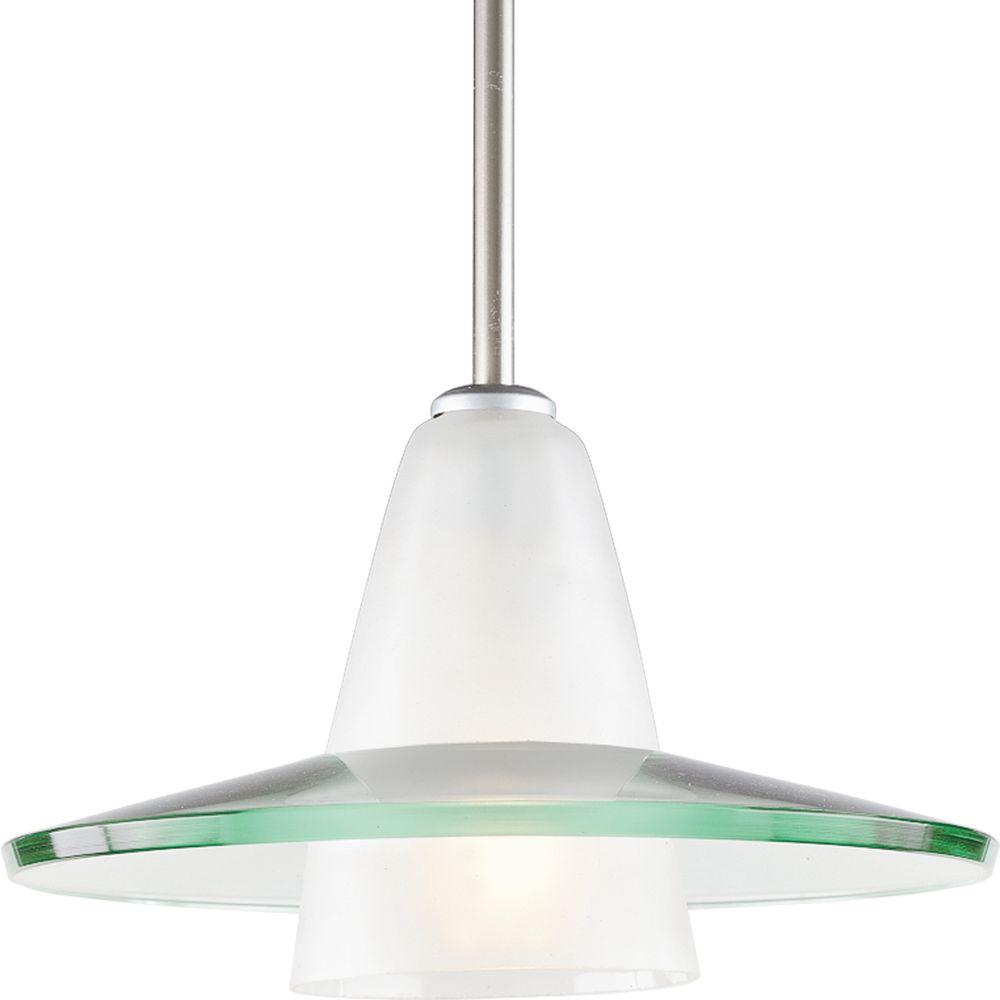Progress Lighting 12 in. 1-Light Brushed Nickel Mini Pendant with Clear And Etched Glass