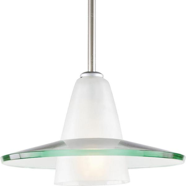 12 in. 1-Light Brushed Nickel Mini Pendant with Clear And Etched Glass