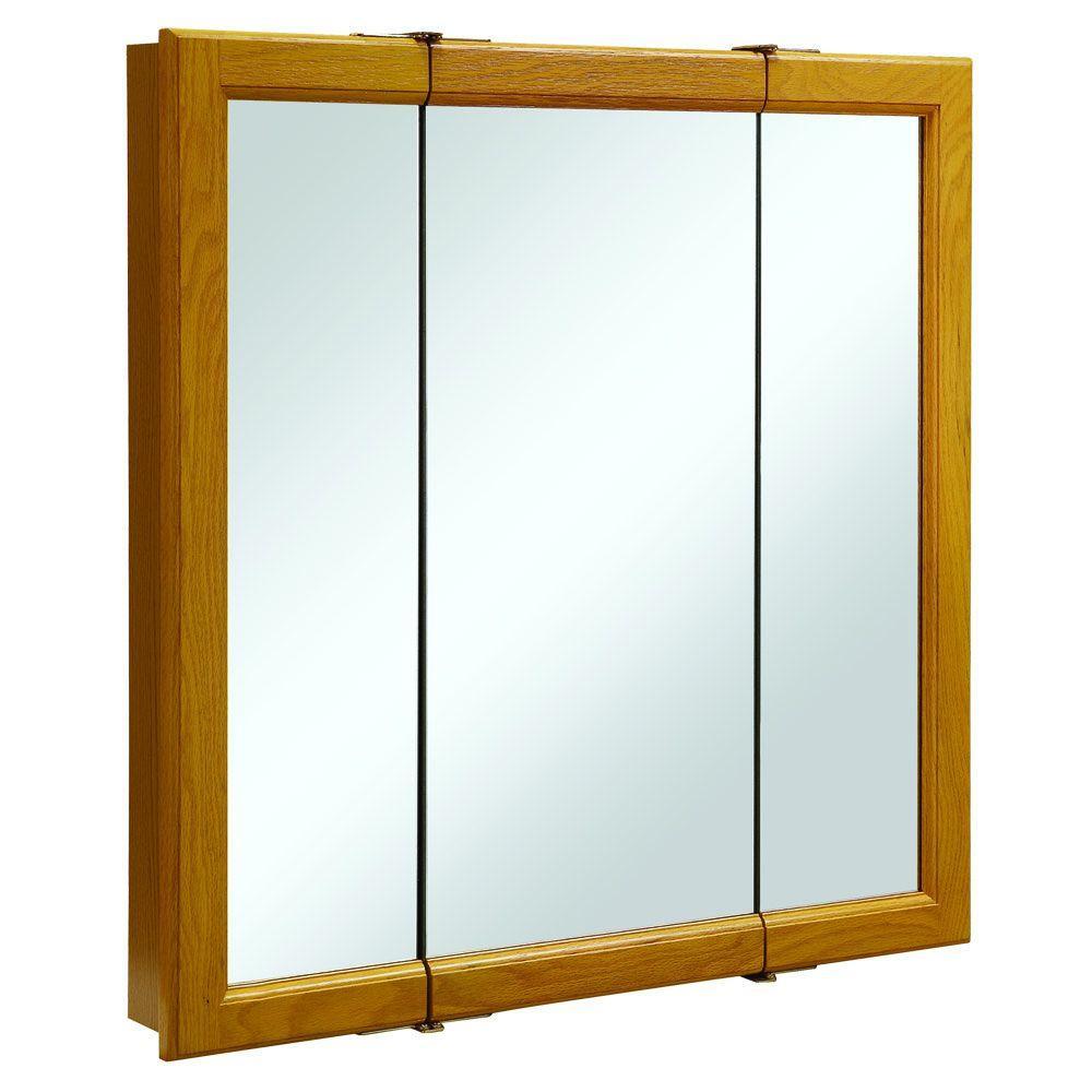 Claremont 30 in. W x 30 in. H x 4-3/4 in. D Tri-View Bathroom Medicine Cabinet in Honey Oak