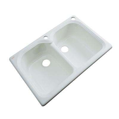 Hartford Drop-In Acrylic 33 in. 2-Hole Double Bowl Kitchen Sink in STERLING Silver