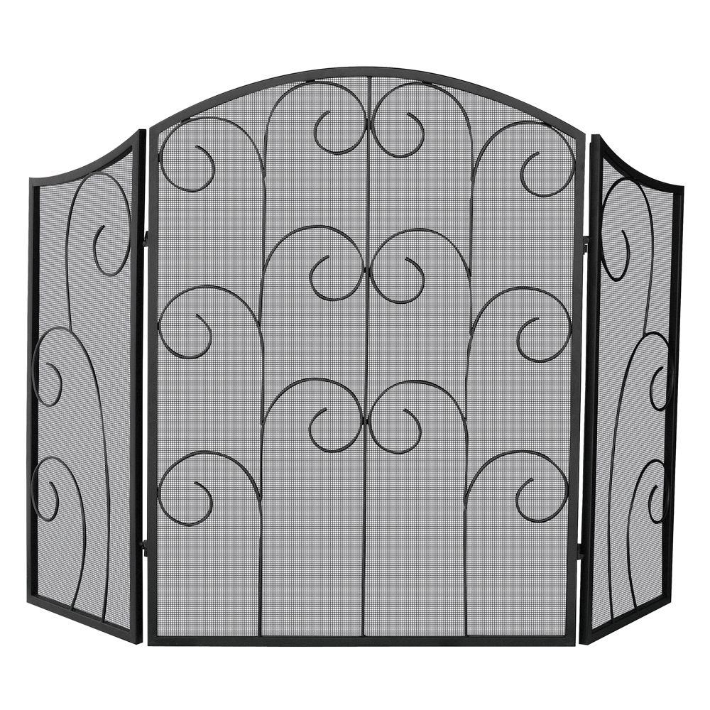 UniFlame Black Wrought Iron 3 Panel Fireplace Screen With Decorative Scroll