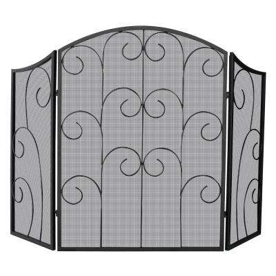 Black Wrought Iron 3-Panel Fireplace Screen with Decorative Scroll