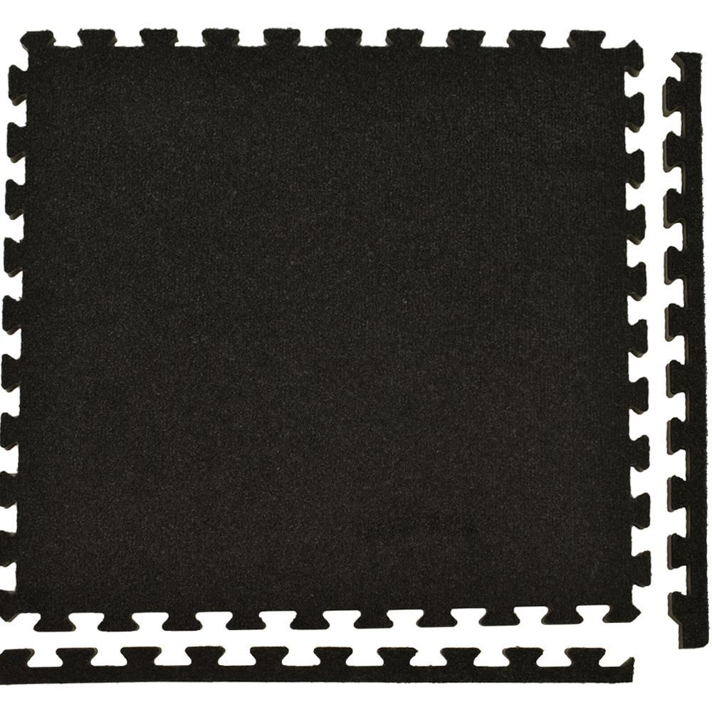 Royal Carpet Charcoal Velour Plush 2 ft. x 2 ft. x 5/8 in. Interlocking Carpet Tile 96.875 sq. ft. (25 tiles per Case)