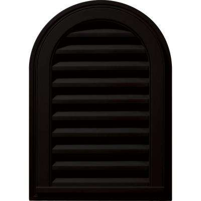 14 in. x 22 in. Round Top Gable Vent in Black