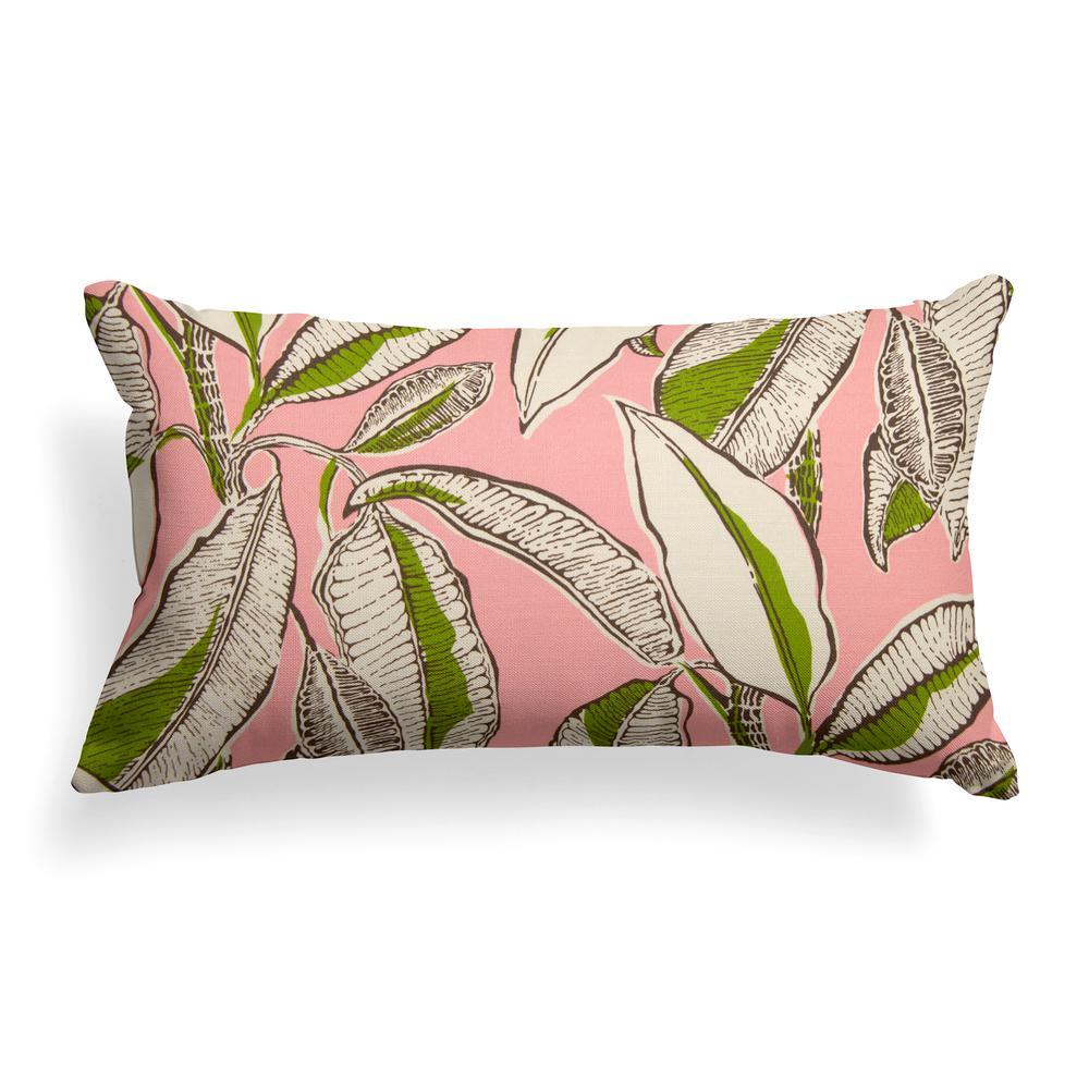 Grouchy Goose Panama Pink Rectangular Lumbar Outdoor Throw Pillow