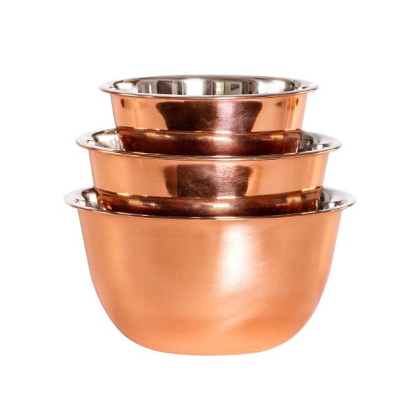 3 Piece Copper Stainless Steel Mixing Bowl Set