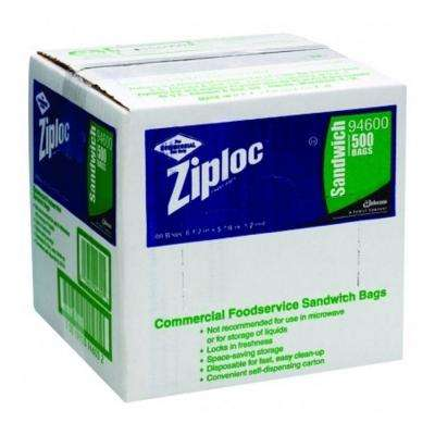 Commercial Foodservice Sandwich Bags, 1.2 Mil, 6-1/2 in. x 6 in., Write-On Panel, 500 Per Case