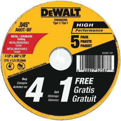 4-1/2 in. x 0.045 in. x 7/8 in. Metal and Stainless Cutting Wheel (5-Pack)