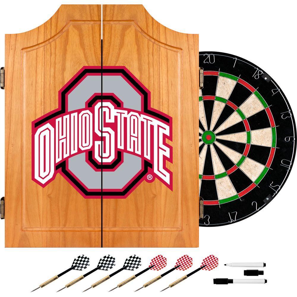 Ohio State University Block Wood Finish Dart Cabinet Set
