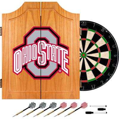 Ohio State University Block Wood Finish Dart Cabinet Set