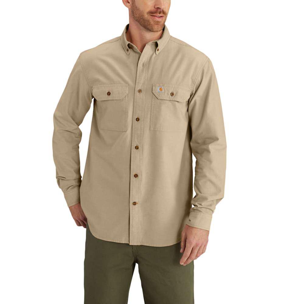 Men's Regular Large Dark Tan Chambray Cotton Long-Sleeve Wovens