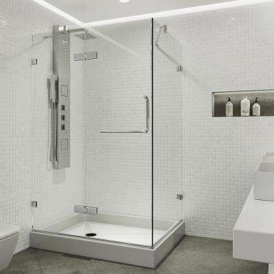 Monteray 48.125 in. x 79.25 in. Frameless Pivot Shower Enclosure in Chrome with Clear Glass with Left Base in White