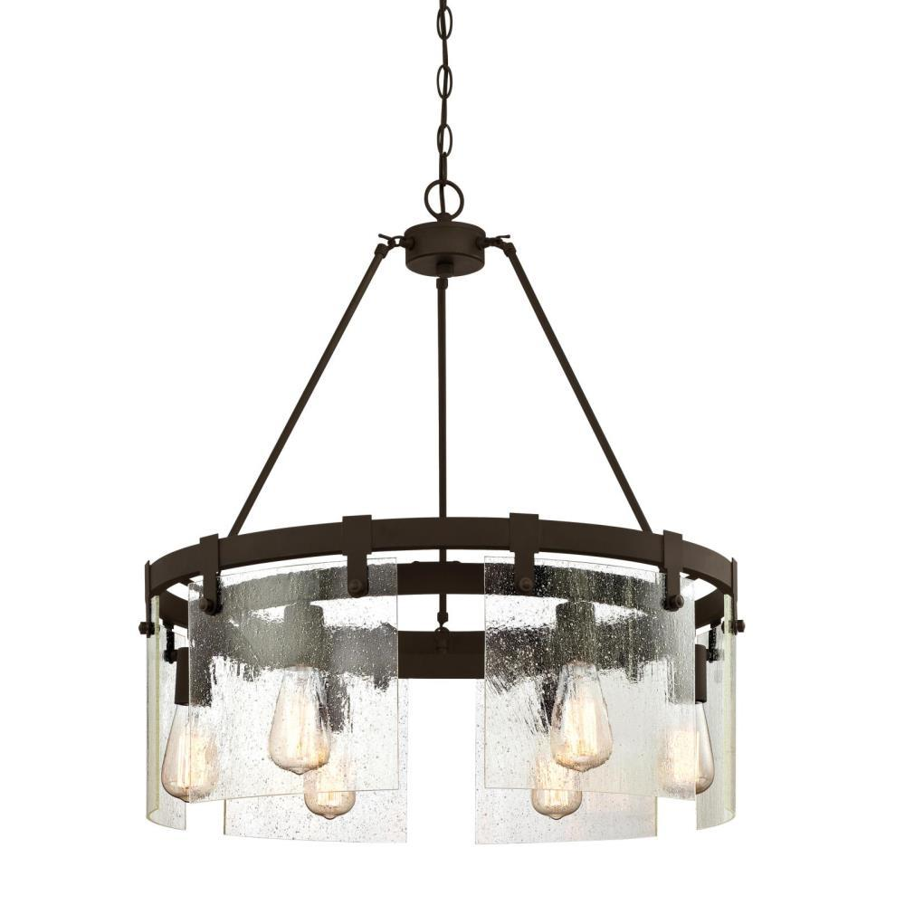reputable site 1ecc3 e7352 Westinghouse Burnell 6-Light Oil Rubbed Bronze Chandelier with Clear Seeded  Glass Shades