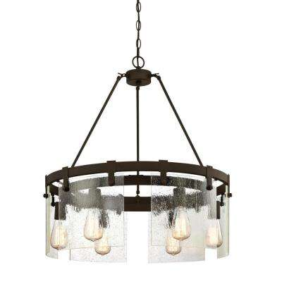 Burnell 6-Light Oil Rubbed Bronze Chandelier with Clear Seeded Glass Shades