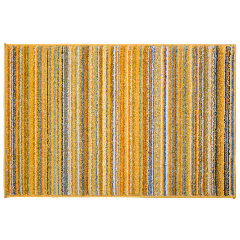 world rug gallery contemporary modern stripes rug 2 x 3 yellow rh homedepot com