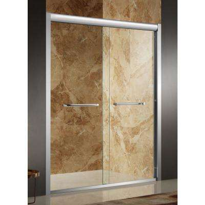 Pharaoh 48 in. x 72 in. Framed Sliding Shower Door in Brushed Nickel with Handle