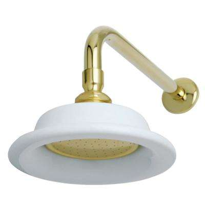 Sunflower 1-Spray 6.3 in. Showerhead with Shower Arm in Polished Brass