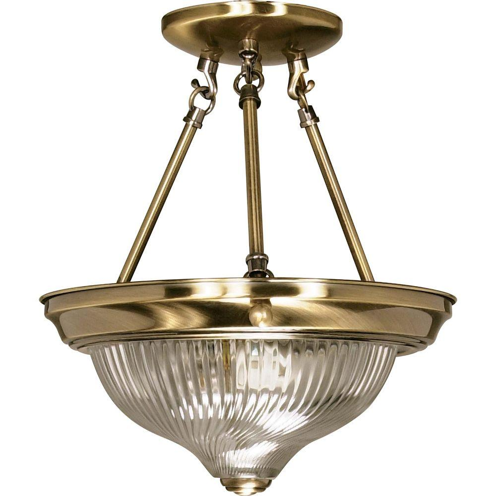 Glomar 2-Light Antique Brass Semi-Flush Mount Light with Clear Swirl Glass