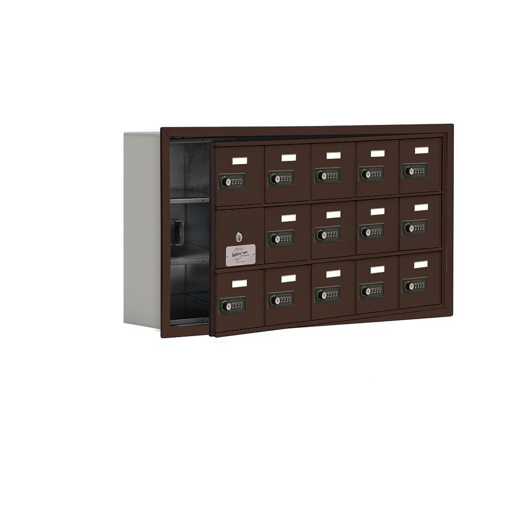 19100 Series 35.75 in. W x 18.75 in. H x 5.75 in. D 14 Doors Cell Phone Locker R-Mount Resettable Locks in Bronze