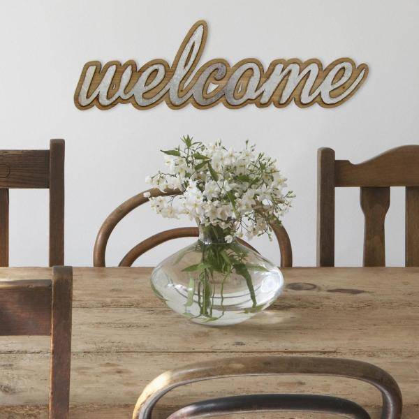 Stratton Home Decor Wood And Metal Welcome Decorative Sign S07683