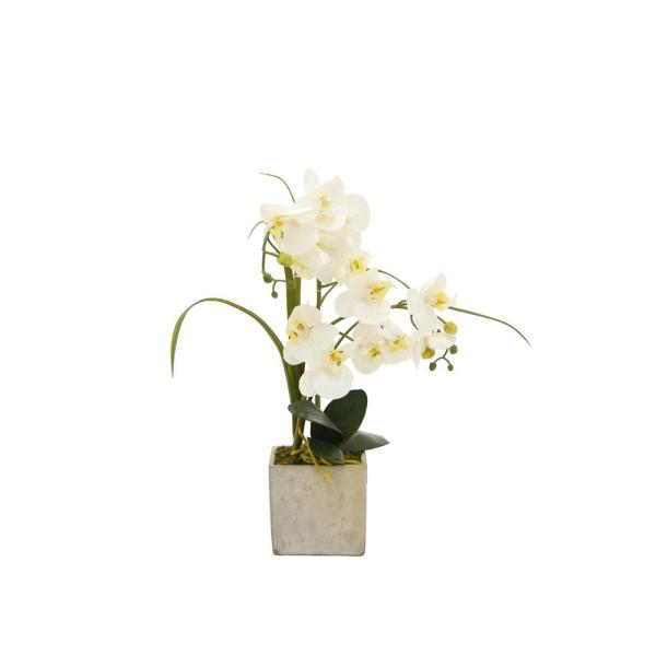 THREE HANDS Faux Orchid White Flower Pot