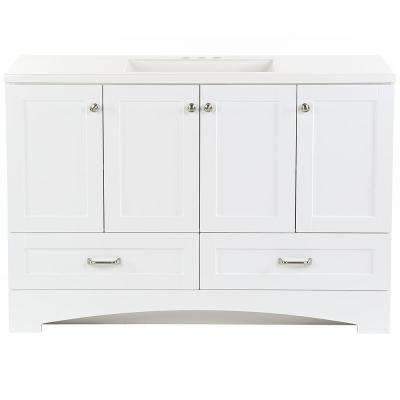 Lancaster 48 in. W x 19 in. D Bathroom Vanity in White with Cultured Marble Vanity Top in White with White Sink