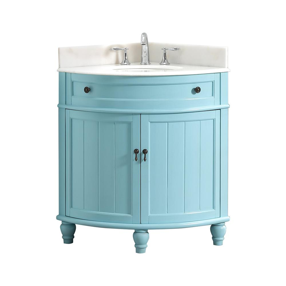 Modetti Angolo 34 in. W x 24 in. D Bath Vanity in Blue with Marble Vanity Top in White with White Basin