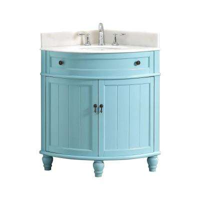 Angolo 34 in. W x 24 in. D Bath Vanity in Blue with Marble Vanity Top in White with White Basin