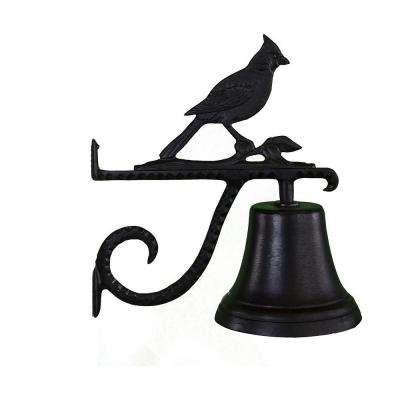 Cast Bell with Black Cardinal Ornament