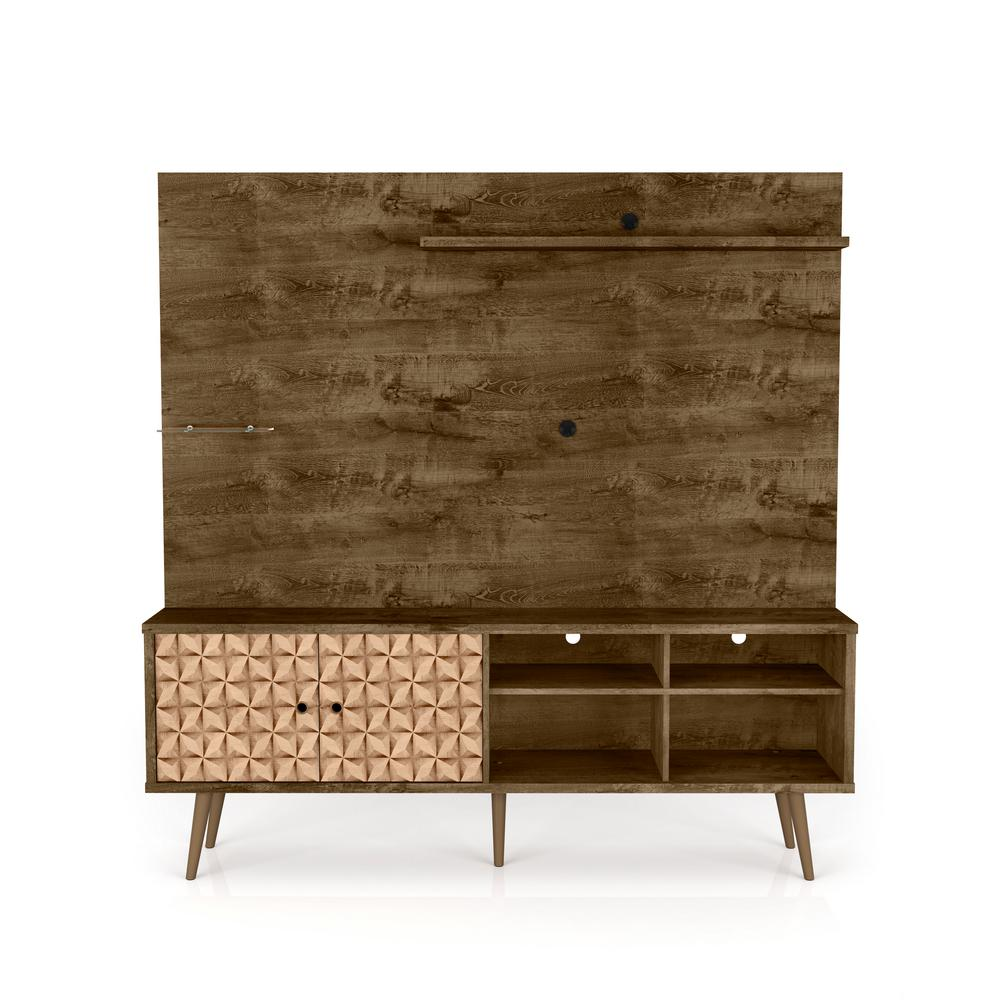 Liberty 70.87 in. Rustic Brown and 3D Brown Print Freestanding Entertainment