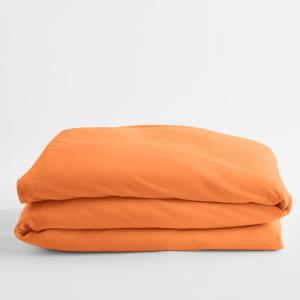 Jersey Knit Sunset Orange Solid Cotton Twin XL Duvet Cover