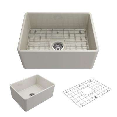 Classico Farmhouse Apron Front Fireclay 24 in. Single Bowl Kitchen Sink with Bottom Grid and Strainer in Biscuit