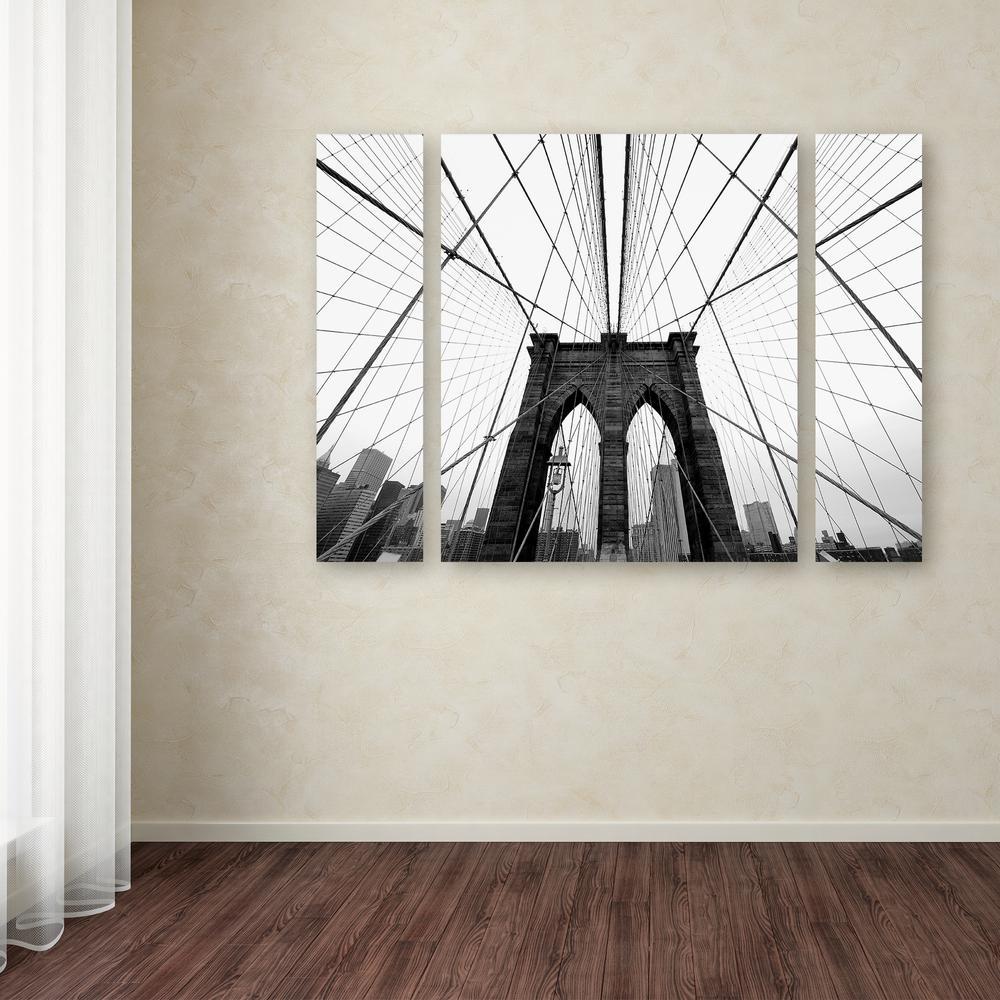 "30 in. x 41 in. ""NYC Brooklyn Bridge"" by Nina Papiorek Printed Canvas Wall Art"