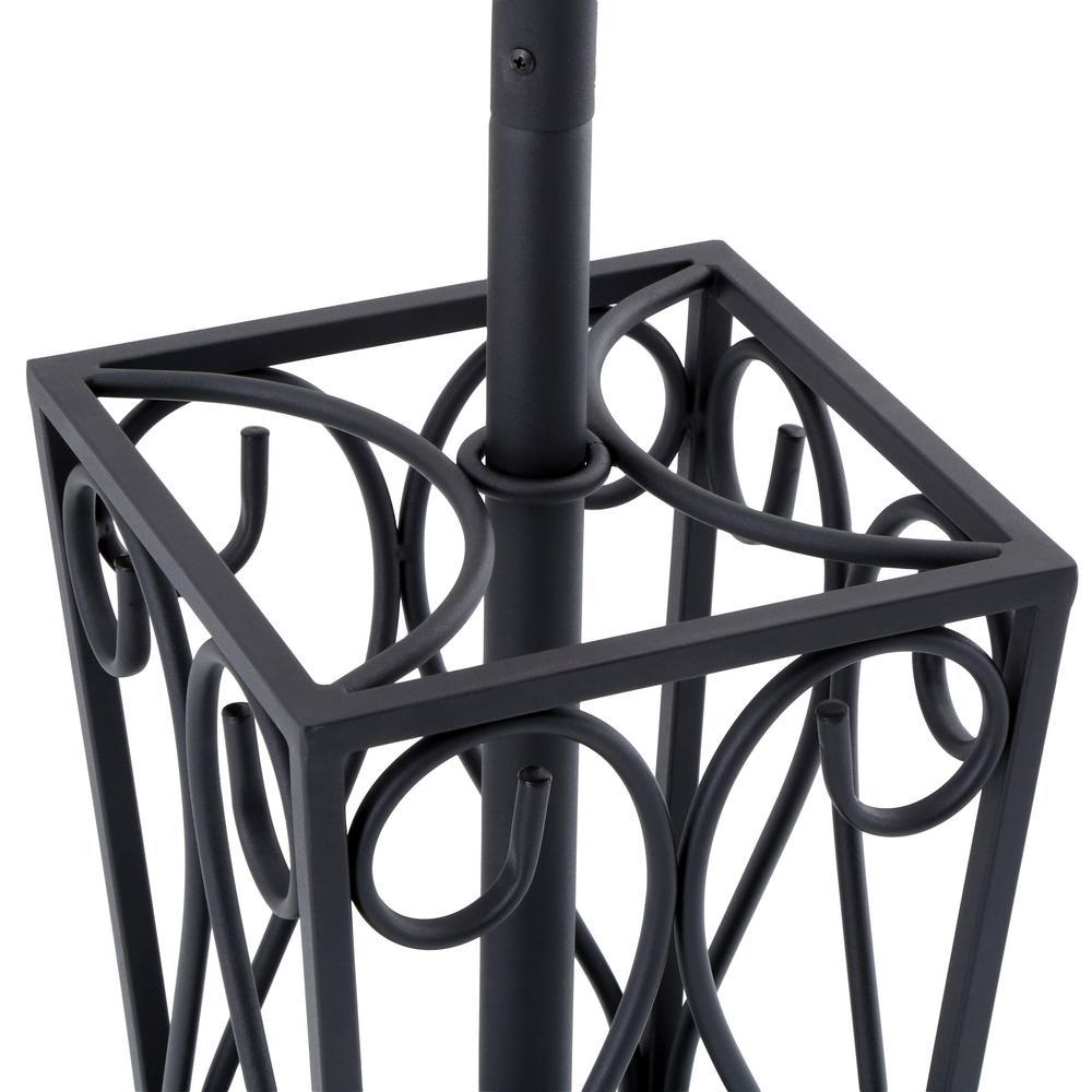 undefined 8-Hook Scrolled Metal Coat Rack with Umbrella Storage in Black
