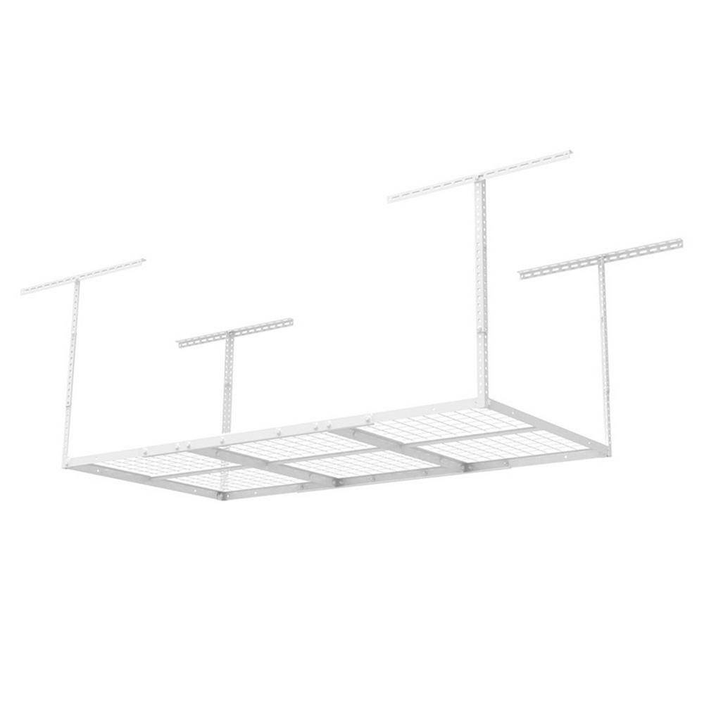 FLEXIMOUNTS 6 ft. x 3 ft. Heavy-Duty Overhead Garage Adjustable Ceiling Storage Rack in White