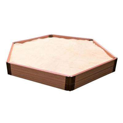 Two Inch Series 7 ft. x 8 ft.x 11 in. Classic Sienna Composite Hexagon Sandbox Kit