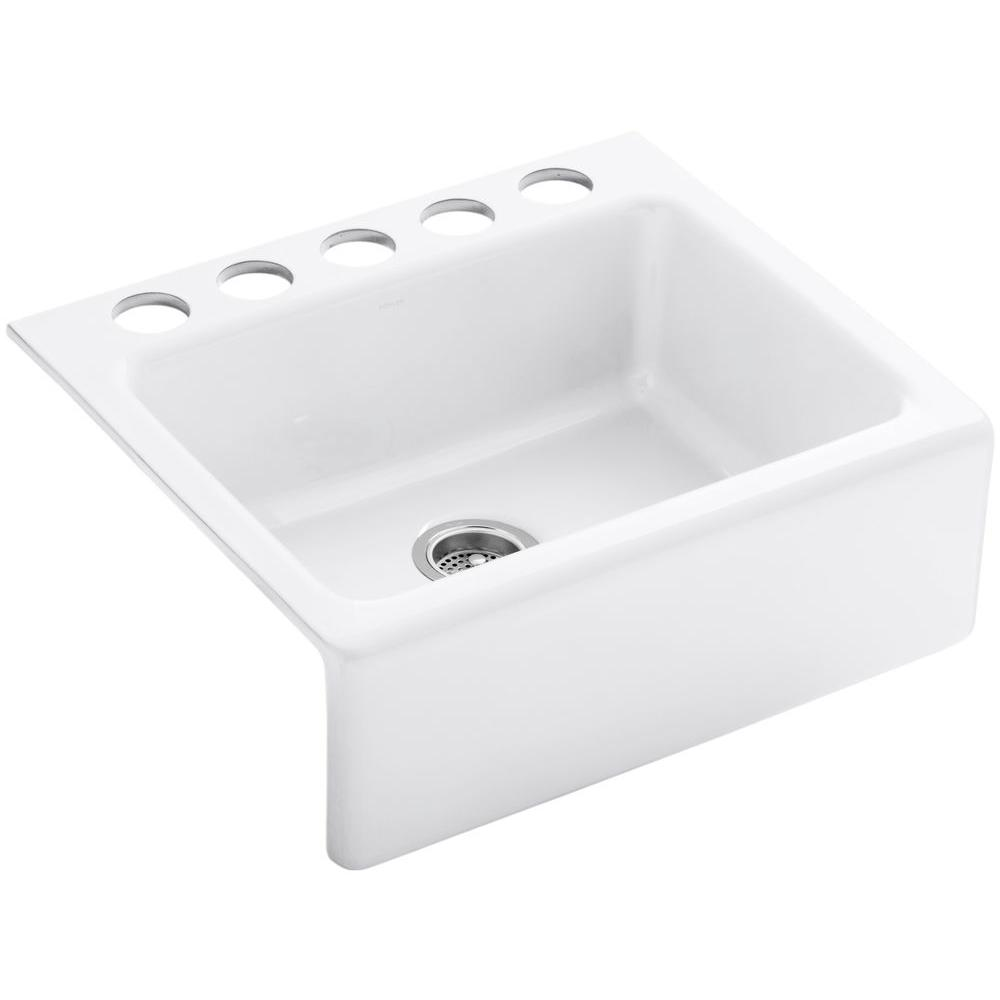 KOHLER Alcott Undermount Farmhouse Apron-Front Fireclay 25 in. 5-Hole Single Bowl Kitchen Sink in White