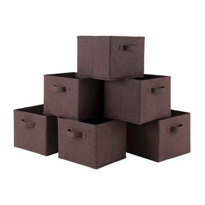 10.97 in x 9 in. Capri Chocolate Storage Furniture Basket