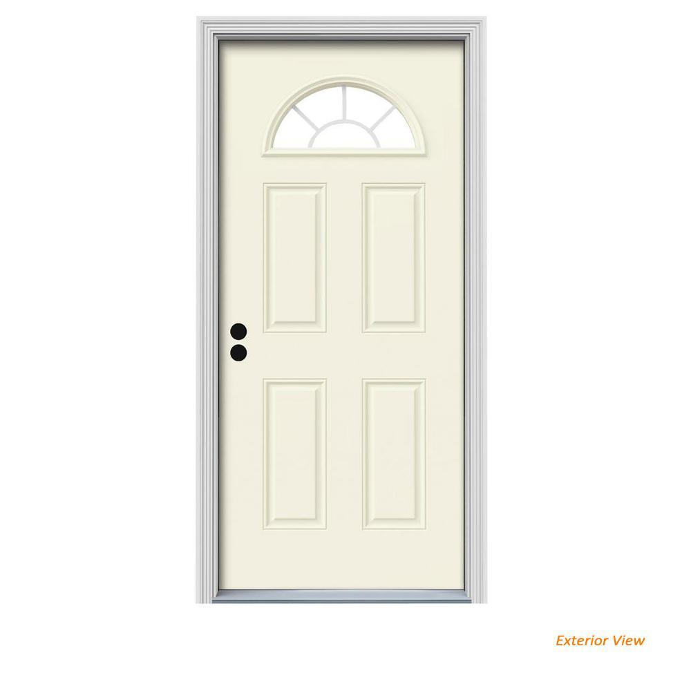 34 in. x 80 in. Fan Lite Vanilla Painted Steel Prehung Right-Hand Inswing Front Door w/Brickmould