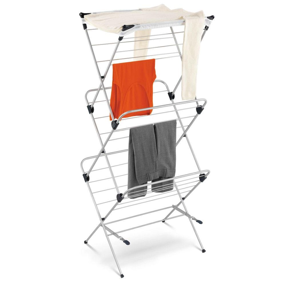 Honey-Can-Do 3-Tier Mesh Top Drying Rack, silver/ blue Providing ample drying space with a small footprint, the Honey-Can-Do 3-Tier Mesh Top Drying Rack is a simple and energy-efficient method for drying clothing. Sturdy and rustproof with a coated steel frame, this rack is easily portable so you can use it in any room of your home and even in outdoor spaces such as a balcony or porch. The top mesh shelf is ideal for air-drying delicate items such as sweaters, hosiery and lingerie and with 48-linear ft. of capacity using minimal floor space, this expandable drying rack can't be beat. Color: silver/ blue.