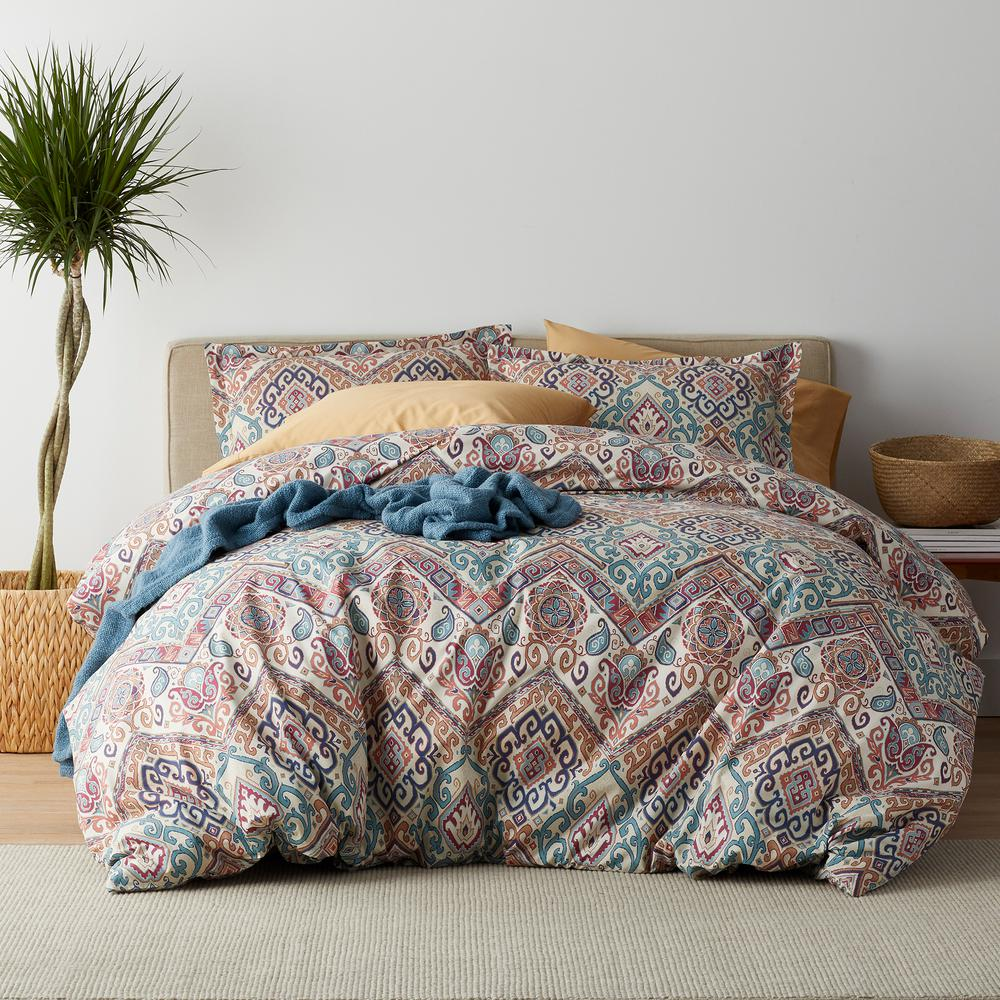 Viceroy 3-Piece 200 Thread Count Cotton Percale Full Duvet Cover Set