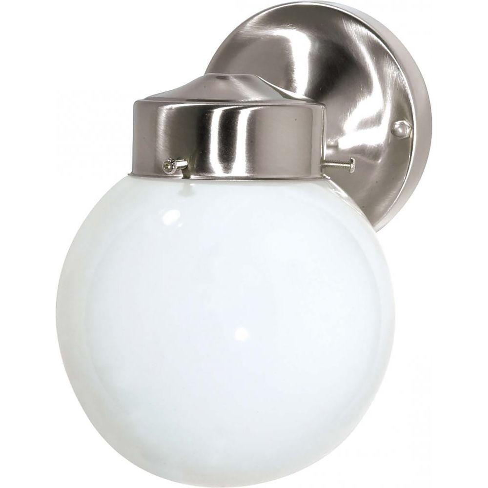 glomar tony 1 light brushed nickel outdoor wall mount sconce cli