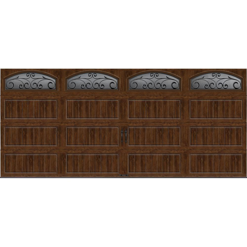 Clopay Gallery Collection 16 ft. x 7 ft. 6.5 R-Value Insulated Ultra-Grain Walnut Garage Door with Wrought Iron Window