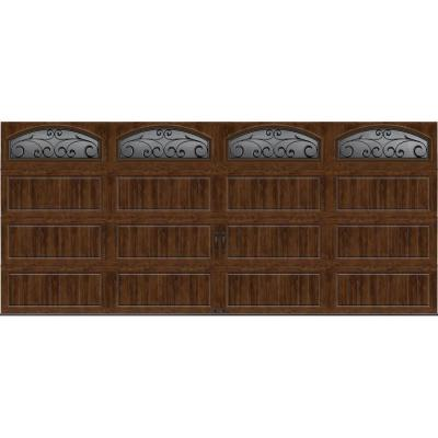 Gallery Collection 16 ft. x 7 ft. 6.5 R-Value Insulated Ultra-Grain Walnut Garage Door with Wrought Iron Window