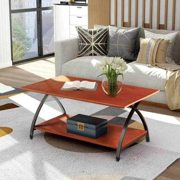Boyel Living 48 In Mahogany Large Rectangle Wood Coffee Table With Curved Legs Tr Wf191396aad The Home Depot